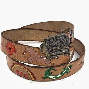 UNIQUE Leather Native American symbol belt